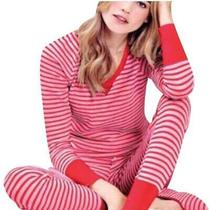 Victoria's Secret Red Striped Pajamas Set Thermal Size Xl Photo