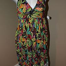 Victoria's Secret Ruffle Halter Print Cover Up Mesh Sun Dress M Photo