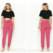 Victoria's Secret S Small Rose Bloom Pink Joggers Pajama Pants Bottoms Ribbed  Photo