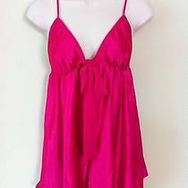 Victoria's Secret Sexy Short Nightgown Nightie Sleepwear Pink Satin M Excellent Photo