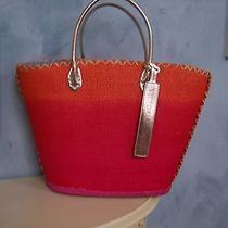 Victoria's Secret Signature Straw Basket Ombre Purse Beach Tote Bag Euc Photo