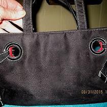 Victoria's Secret Small Black Suede-Look Handbag W/patent Leather Trim Photo