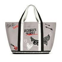Victoria's Secret Taylor Mae Tease Graffiti Tote Bag Weekender Black Gray Nwt Photo