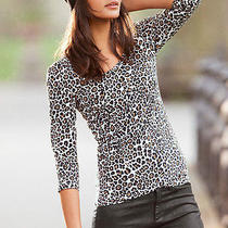 Victoria's Secret Three Quarter Sleeve Essential Tee Animal Leopard Print Small Photo