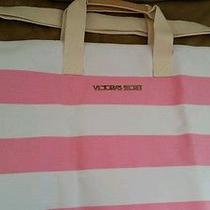 Victoria's Secret Travel Getaway Bag Pink & White Striped Large Tote Free Ship Photo