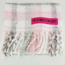 Victoria's Secret vs Blush Grey Plaid Scarf Warm New With Tags                   Photo