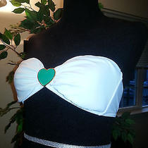 Victoria's Secret White Bandeau Bikini Top Heart Embellishment Size L Photo