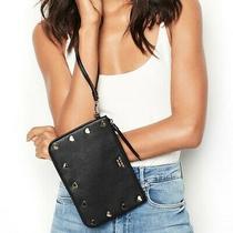 Victoria's Secret Wristlet Night Out Heart Stud Pebble Faux Leather Black Nwt Photo