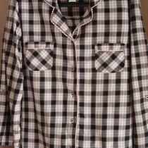 Victoria Secret 2 Pc Cotton Pajama Set Large Button Down Plaid Black Pink Grey Photo