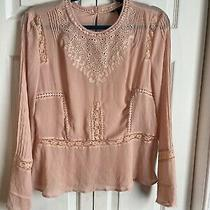 Victoria Secret Blush Pink Long Sleeve Embroidered Peasant Blouse Rare Size 12  Photo