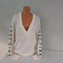 Victoria Secret Cotton Poly Marled v-Neck Tunic Sweatshirt Top Shirt Cream L   Photo