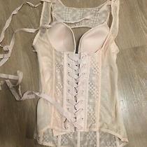 Victoria Secret Lace Crochet Corset Bustier Size 34b Blush Pink Originally 128 Photo