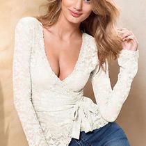 Victoria Secret Lace Wrap Top - Off White Ivory - Size Medium M Photo