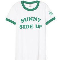 Victoria Secret Marled White Short Sleeve Ringer Tshirt Small Sunny Side Up Photo