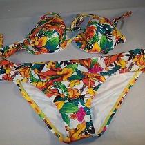 Victoria Secret Multi-Color Floral Bikini Top Size 34b Bottoms Size M/m Photo