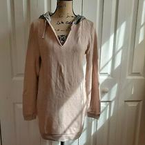 Victoria Secret Pale Blush Pink Long Sleeve Hooded Tunic Sweatshirt Sequin Gray Photo