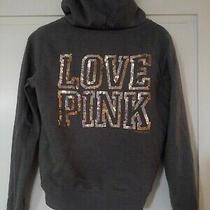 Victoria Secret Pink Bling Hoodie Grey Fleece Lined Photo