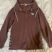 Victoria Secret Pink Quarter Zip Sweatshirt Size Xs Photo