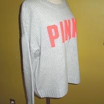 Victoria Secret Pink Wool/acrylic Light Gray /orange Sweater Blouse  L Euc Photo