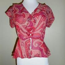 Victoria Secret Sz S Sheer Blouse Top Shirt Ruffles Paisley Cap Sleeve Red/tan Photo