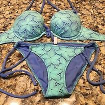 Victoria Secret Women Bikini Size Small Top 34c Swimwear Crochet Lining Beach Photo