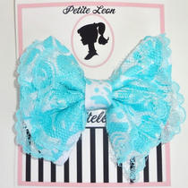 Victorian Aqua White Damask Lace Hair Bow Old Fashion Hair Bow  Photo