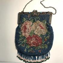 Victorian Beaded Evening Purse - Blue With Flowers 8