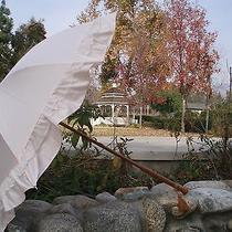 Victorian Edwardian Sit Civil War Ruffled Parasol Wood Handle Blush or Black Photo