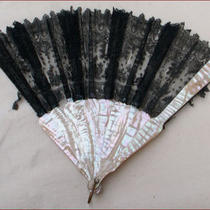 Victorian Mother of Pearl and Lace 16 Arms Fan 1870 Photo
