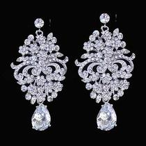 Victorian Style Bridal Wedding Chandelier Earrings Made W/ Swarovski Crystal Photo