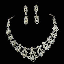 Victorian Style Bridal Wedding Necklace Set Signed Snk Made With Swarovski Cryst Photo