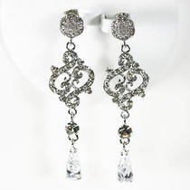 Victorian Style Chandelier Earrings Bridal Wedding Made With Swarovski Crystal Photo