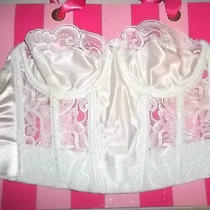 Victorias Secret 34 C White Lace Corset Bustier Sexy Open Back Photo