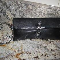 Victorias Secret Black Faux Leather & Metal Bangle Bracelet Wristlet Clutch Photo