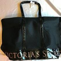 Victorias Secret Black Mesh Tote Bag Zip Close 23x15 New Women's Purse Bag Photo