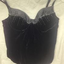 Victorias Secret Black Velvet/satin Beaded Sexy Corset Top - Goth/vampire 34b Photo