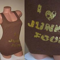 Victorias Secret Brown Gold Foil Sparkle I Love Heart Junk Food Tank Top Shirt S Photo