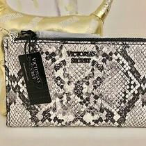 Victorias Secret Gray Wallet Bifold Card Case Python Print 5 Slots 1 Zip Id Photo