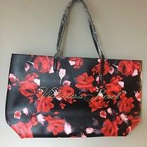 Victorias Secret Nwt New Black Red Floral 2019 Black Friday Limited Tote Bag Photo