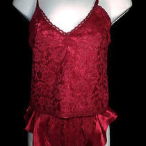 Victorias Secret P Teddy 2 Pc Set Camisole Top & Tap Pants Valentines Red Lacie  Photo
