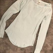 Victorias Secret Pink Baby Blue Thermal Longsleeve Tshirt Size Small Photo