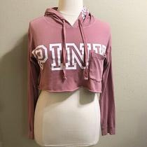 Victorias Secret Pink Blush Maeve Logo Crop Hoodie Top M Photo