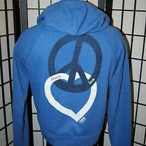 Victorias Secret Pink Full Zip Blue Hoodie Jacket Womens Size M Peace Love Photo