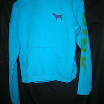 Victorias Secret Pink Hoodie Aqua Pink on Left Arm Medium  Photo