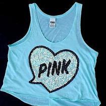 Victorias Secret Pink Medium Tank Top Mint Green Bling Heart Shirt Sequin Drapey Photo