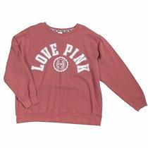 Victorias Secret Pink Sweatshirt Crew Blush Pink Logo   L Cotton Blend Photo