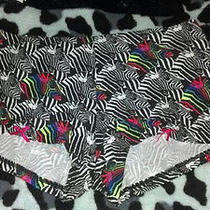 Victorias Secret Pink Zebra Panty Rainbow Zebra Boy Short Brand New Look Photo