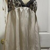 Victorias Secret Sz Large Negligee Nighty Lingerie Ivory Silk Embroidered Cups Photo