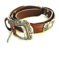 Viintage Fossil Brown Leather Concho Western Belt Size M 29-33