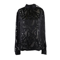 Viktor & Rolf Silk Black See Through Turtleneck Loose Style Blouse  Us S Eu 40 Photo